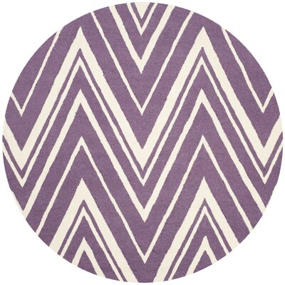 Martins Hand-Tufted Ivory/Purple Area Rug Rug Size: Round 6