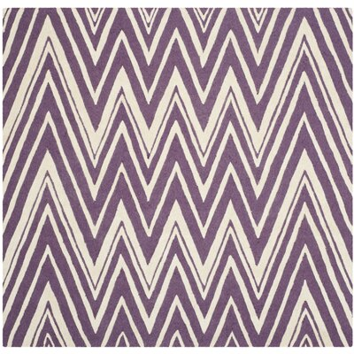 Martins Purple/Ivory Area Rug Rug Size: Square 6