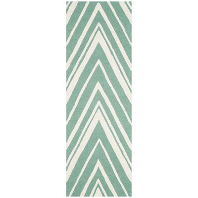 Martins Hand-Tufted Teal/Ivory Area Rug Rug Size: Runner 26 x 8