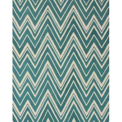 Martins Teal/Ivory Area Rug Rug Size: 6 x 9