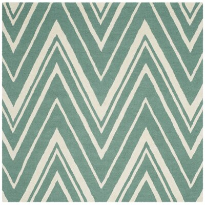 Martins Hand-Tufted Teal/Ivory Area Rug Rug Size: Square 6