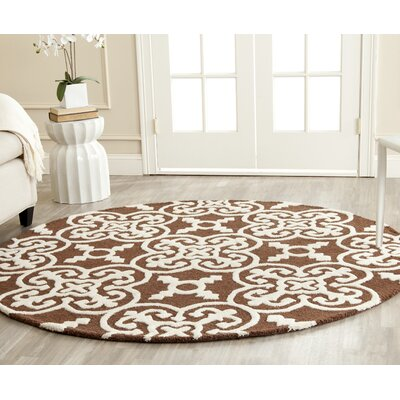 Marlen Dark Brown Area Rug Rug Size: Round 6