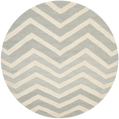 Charlenne Gray/Ivory Area Rug Rug Size: Round 6