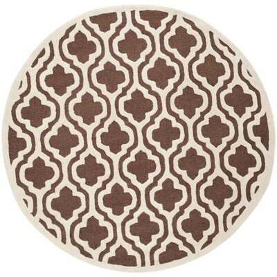 Martins Dark Brown/Ivory Area Rug Rug Size: Round 6