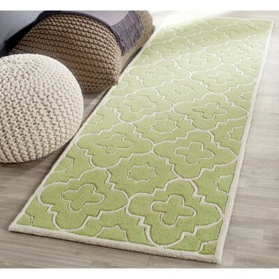Wilkin Green / Ivory Moroccan Rug Rug Size: Runner 23 x 7