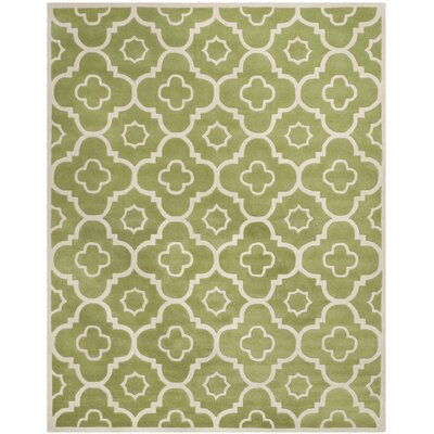 Wilkin Hand-Tufted Wool Green/Ivory Area Rug Rug Size: Rectangle 3' x 5'