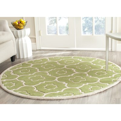 Wilkin Green / Ivory Moroccan Rug Rug Size: Round 5