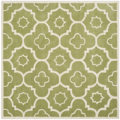 Wilkin Hand-Tufted Wool Green/Ivory Area Rug Rug Size: Square 5
