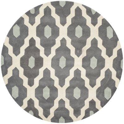 Wilkin Dark Gray/Ivory Moroccan Area Rug Rug Size: Round 3
