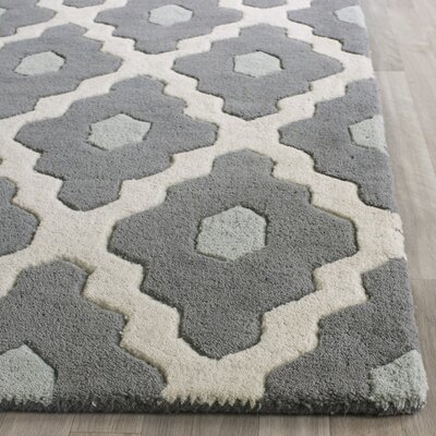 Wilkin Dark Gray/Ivory Moroccan Area Rug Rug Size: 6 x 9
