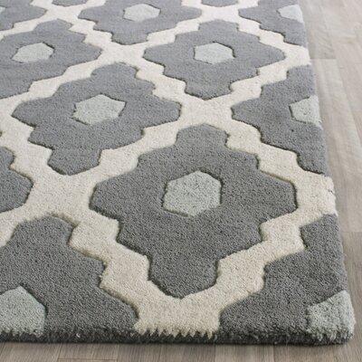 Wilkin Dark Gray/Ivory Moroccan Area Rug Rug Size: 2 x 3