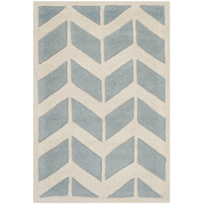 Wilkin Blue / Ivory Moroccan Area Rug Rug Size: Rectangle 2 x 3