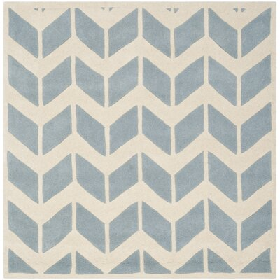 Wilkin Blue / Ivory Moroccan Area Rug Rug Size: Square 5
