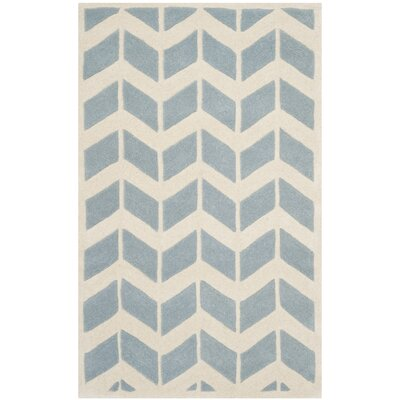 Wilkin Blue / Ivory Moroccan Area Rug Rug Size: 26 x 4