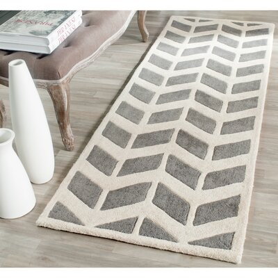 Wilkin Hand-Tufted Wool Dark Gray/Ivory Area Rug Rug Size: Runner 23 x 11