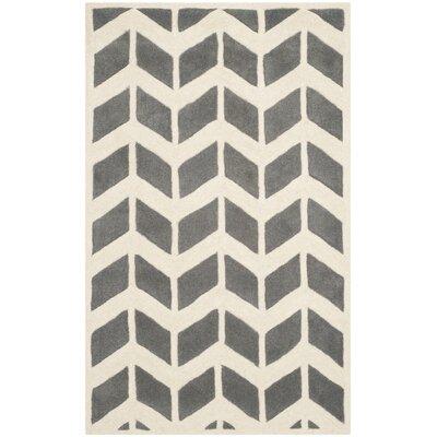 Wilkin Dark Grey / Ivory Moroccan Area Rug Rug Size: 3 x 5