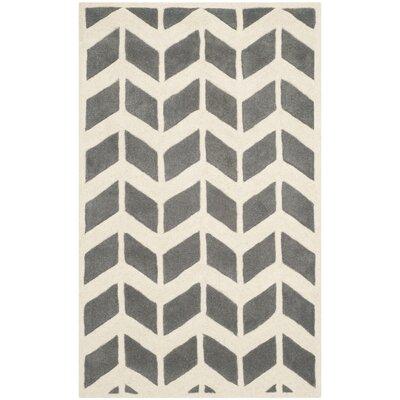 Wilkin Dark Grey / Ivory Moroccan Area Rug Rug Size: 4 x 6