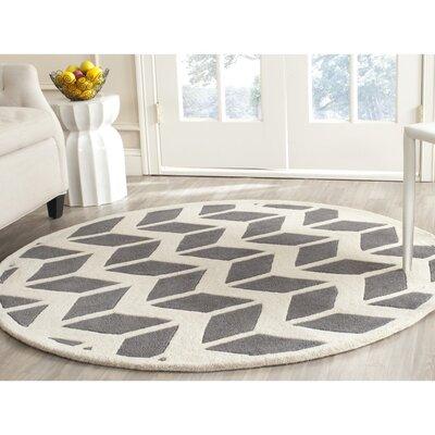 Wilkin Hand-Tufted Wool Dark Gray/Ivory Area Rug Rug Size: Round 3'