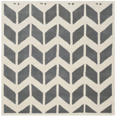 Wilkin Hand-Tufted Wool Dark Gray/Ivory Area Rug Rug Size: Square 3