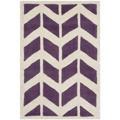 Wilkin Purple / Ivory Moroccan Area Rug Rug Size: Rectangle 2' x 3'