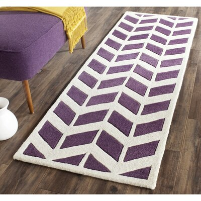 Wilkin Hand-Tufted Wool Purple/Ivory Area Rug Rug Size: Runner 23 x 7