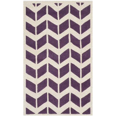 Wilkin Hand-Tufted Wool Purple/Ivory Area Rug Rug Size: Rectangle 4 x 6