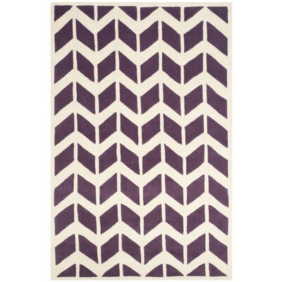 Wilkin Hand-Tufted Wool Purple/Ivory Area Rug Rug Size: Rectangle 5 x 8