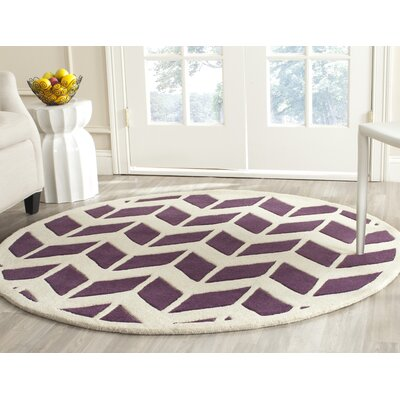 Wilkin Hand-Tufted Wool Purple/Ivory Area Rug Rug Size: Round 5
