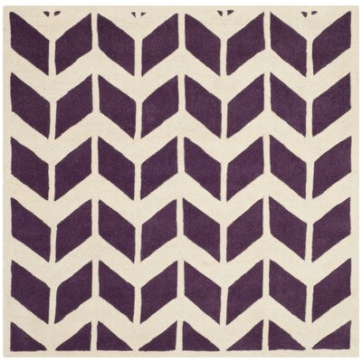 Wilkin Hand-Tufted Wool Purple/Ivory Area Rug Rug Size: Square 5