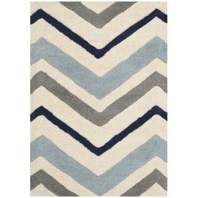 Wilkin Ivory / Dark Grey Chevron Area Rug Rug Size: 2 x 3