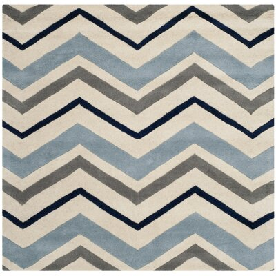 Wilkin Ivory / Dark Grey Chevron Area Rug Rug Size: Square 5
