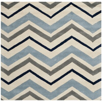 Wilkin Ivory / Dark Grey Chevron Area Rug Rug Size: Square 7
