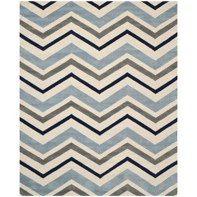 Wilkin Ivory / Dark Grey Chevron Area Rug Rug Size: 89 x 12