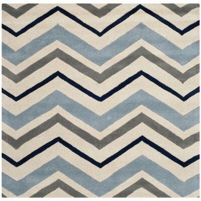 Wilkin Ivory / Dark Grey Chevron Area Rug Rug Size: Square 3