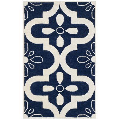 Wilkin Moroccan Hand-Tufted Wool Dark Blue/Ivory Area Rug Rug Size: Rectangle 3 x 5