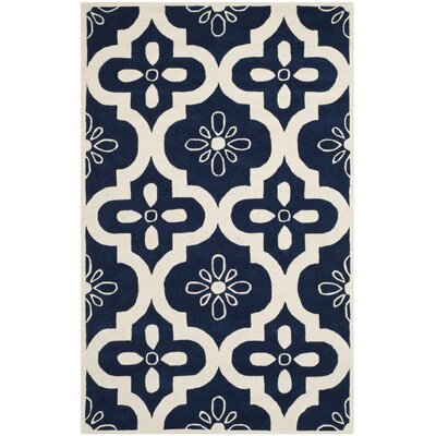 Wilkin Moroccan Hand-Tufted Wool Dark Blue/Ivory Area Rug Rug Size: Rectangle 5' x 8'