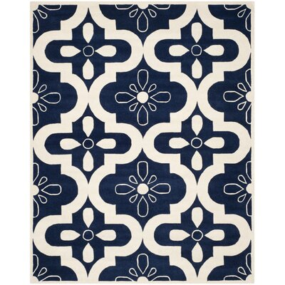 Wilkin Moroccan Hand-Tufted Wool Dark Blue/Ivory Area Rug Rug Size: Rectangle 6 x 9
