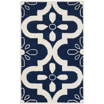 Wilkin Dark Blue / Ivory Moroccan Rug Rug Size: 3 x 5