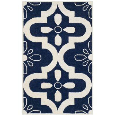 Wilkin Moroccan Hand-Tufted Wool Dark Blue/Ivory Area Rug Rug Size: Rectangle 4 x 6