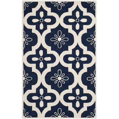 Wilkin Dark Blue / Ivory Moroccan Rug Rug Size: 5 x 8