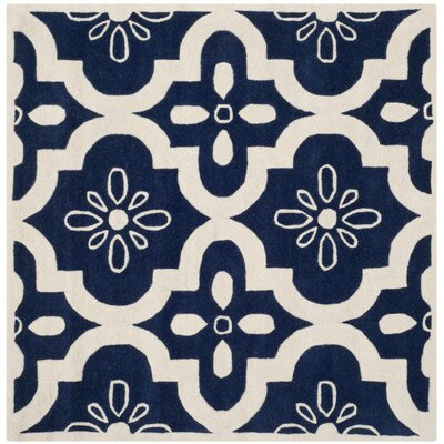 Wilkin Moroccan Hand-Tufted Wool Dark Blue/Ivory Area Rug Rug Size: Square 5'