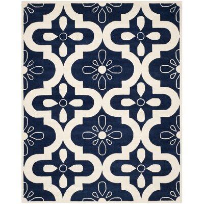 Wilkin Dark Blue / Ivory Moroccan Rug Rug Size: 6 x 9