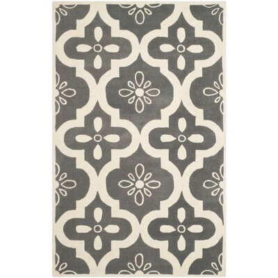 Wilkin Moroccan Hand-Tufted Wool Dark Gray/Ivory Indoor/Outdoor Area Rug Rug Size: Rectangle 4 x 6