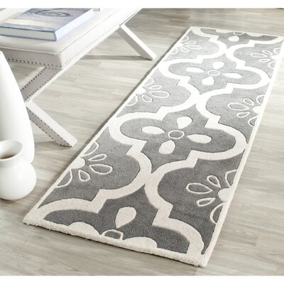 Wilkin Moroccan Hand-Tufted Wool Dark Gray/Ivory Indoor/Outdoor Area Rug Rug Size: Runner 23 x 7