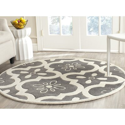 Wilkin Moroccan Hand-Tufted Wool Dark Gray/Ivory Indoor/Outdoor Area Rug Rug Size: Round 5