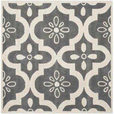 Wilkin Dark Grey / Ivory Moroccan Rug Rug Size: Square 5