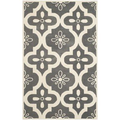 Wilkin Dark Grey / Ivory Moroccan Rug Rug Size: 6 x 9