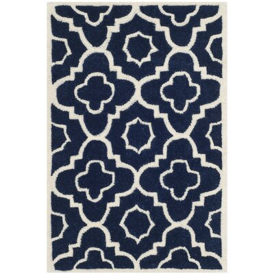 Wilkin Dark Blue / Ivory Moroccan Rug Rug Size: Rectangle 2' x 3'