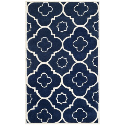 Wilkin Dark Blue / Ivory Moroccan Rug Rug Size: Rectangle 3 x 5
