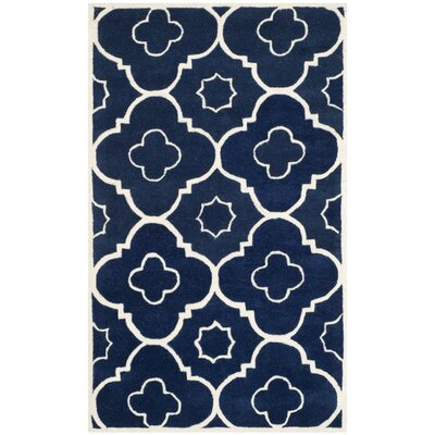 Wilkin Dark Blue / Ivory Moroccan Rug Rug Size: Rectangle 4 x 6